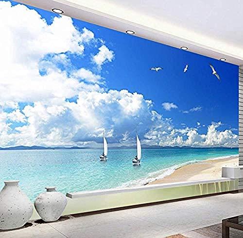 Carta da parati murale Spiaggia sabbiosa Paesaggio Soggiorno moderno Divano TV Sfondo Disegni murali Pittura murale Carta Carta da parati fotomurali poster murale Soggiorno camera letto-400cm×280cm