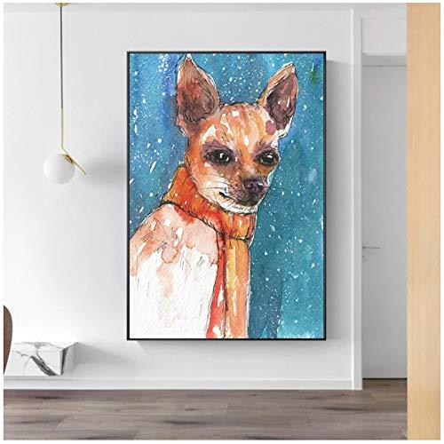 un known Poster Bilder Nordic Abstract Blue Sketch Hundeplakat Print Cuadros Wandkunst für Wohnzimmer Home Decor 50 x 70 cm x1 Stück ohne Rahmen