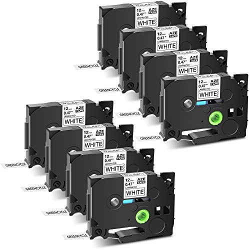 """GREENCYCLE 8 Pack Compatible for Brother TZe-231 TZ231 AZe 231 Label Tapes 12mm 0.47 Inch 1/2"""" Black on White Laminated for Ptouch PTD210 D600 PT-D600VP PTD400AD PTH110 PT-D200 PT-E550W Label Maker"""