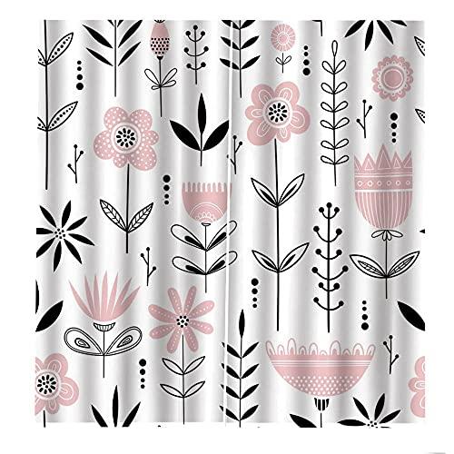 CQIIKJ Cortinas Opacas Flor Rosa Blanca Negra Cortina de Ojales 100% poliéster 110x215cm x2 la habitación de los niños Sala de Estar Dormitorio