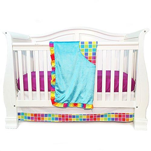 One Grace Place Terrific Tie Dye Infant Crib Bedding Set, Aqua Blue/Royal Blue/Pink