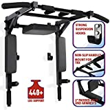 Wall Mounted Pull Up Bar and Dip Station Multi-Grip Chin-Up Bar Dip Stands Compact Power Tower for...