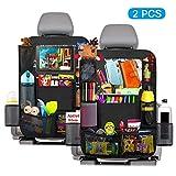 Auto Rückenlehnenschutz Kinder, Kriogor 2 Stück Rücksitz Organizer Auto für Kinder, Wasserdichter Rücksitz Schutz mit Multi Taschen und Kick Matten Schutz