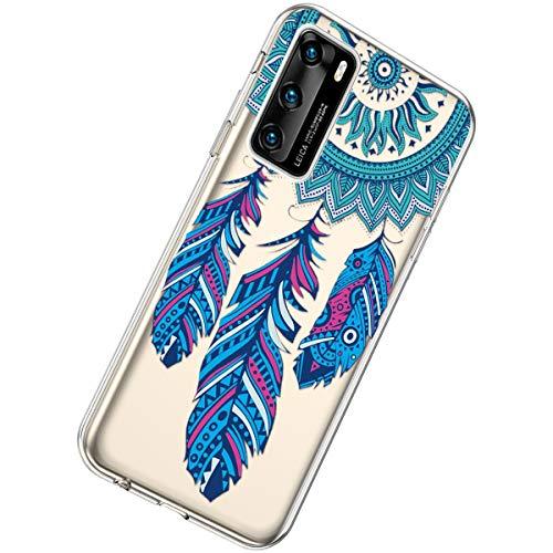 Herbests Kompatibel mit Huawei P40 Hülle Silikon Weich TPU Handyhülle Durchsichtige Schutzhülle Niedlich Muster Transparent Ultradünn Kristall Klar Handyhülle,Feder
