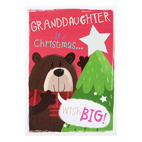 Hallmark–Tarjeta de cumpleaños para nieta Tarjeta de Navidad 'festivo Deseos'–Medium