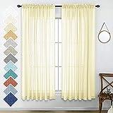 Cortinas amarillas pálidas de 63 pulgadas de largo para dormitorios y juegos de 2 paneles con bolsillo para barra de lino, textura de gasa, cortinas semitransparentes, elegantes, para ventanas,...