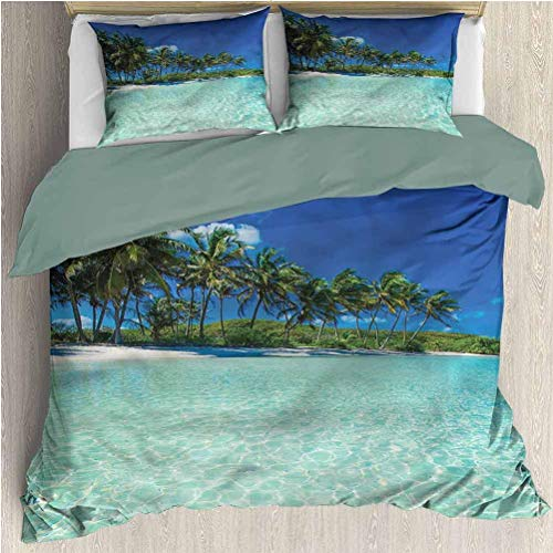 Juego de edredón Ocean de 3 Piezas Funda nórdica Tropical Summer Island Sea 3 Piezas Sábanas Estampadas Funda nórdica Funda nórdica con 2 Fundas de Almohada California King Size