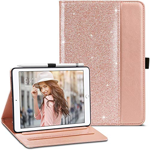 ULAK Case for iPad Mini 1/2/3, Soft PU Leather Protective Cover with Pen Holder Slim Lightweight Two-fold Stand Auto Sleep/Wake Smart Case for iPad Mini 1/2/3 - Rose Gold Glitter