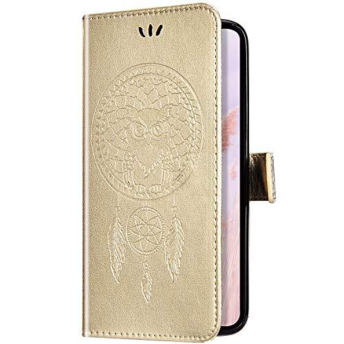 Uposao Kompatibel mit Samsung Galaxy A20S Handyhülle Wallet Lederhülle Traumfänger Mandala Eule Muster Leder Tasche Schutzhülle Brieftasche Handytasche Klapphülle Flip Case,Gold