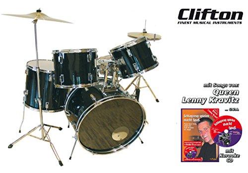 """CLIFTON Schlagzeugset """"Black Beat"""" mit Lernbuch und Karaoke-CD, genaue Aufbauanleitung, Becken, Fußmaschine, HiHat Maschine"""