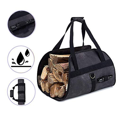 Vastitude Heavy Duty Waxed Canvas Log Carrier Tote Bag Firewood Holder Fireplace Stove Accessories Storage Bag Dark Gray