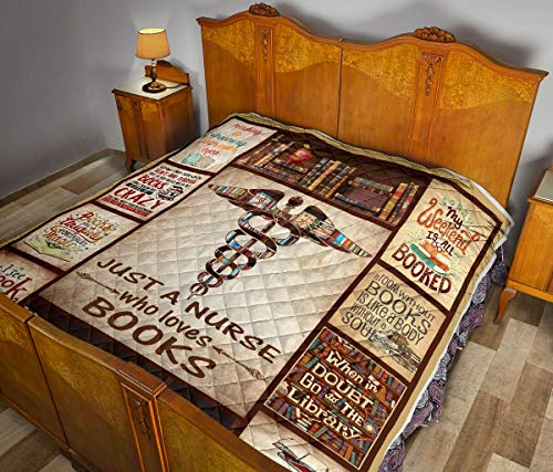 Just Nurse Who Love Books Quilt Twin Size - Unique 3D Design, Suitable for All Seasons with Mellow Cotton Material Comfortable and Luxurious.