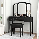 Allewie Makeup Vanity Table, Large Desktop Vanity with Bench, Tri-Folding Mirror Makeup Desk Set with Cushioned Stool 3 Drawers, Black