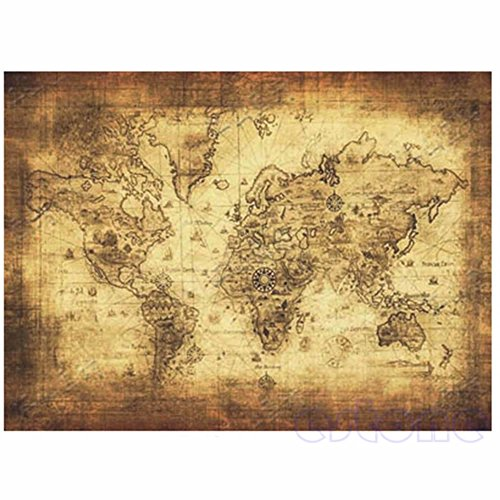 Hunulu 71x51cm Large Vintage Style Retro Paper Poster Globe Old World Map Gifts