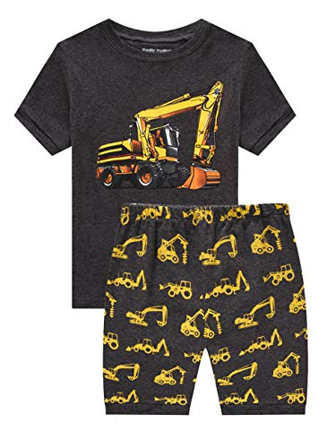 Family Feeling Little Boys Excavator Pajamas Short Sets 100% Cotton Toddler Kid 3T