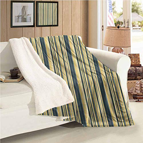 Cashmere Velvet Throw Size Blanket,Geometric Camping Blanket Barcode Style Pattern in Retro Colors Straight Parallel Vertical Lines All Season Use Yellow Dark Bluegrey