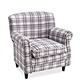 Britoniture Tartan Fabric Armchair Country Style Accent Chair Living Room Office Brown