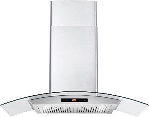Cosmo COS-668AS900 36 in. Wall Mount Pro-Style Range Hood with 380 CFM, Ducted Exhaust Vent, 3 Speed Fan, Tempered Gl...