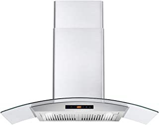 Cosmo COS-668AS900 36 in. Wall Mount Pro-Style Range Hood with 380 CFM, Ducted Exhaust Vent, 3 Speed Fan, Tempered Glass, LCD Digital Clock Display, Touch Control Panel