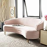 Safavieh Couture Primrose Glam Light Pink Velvet Curved Sofas