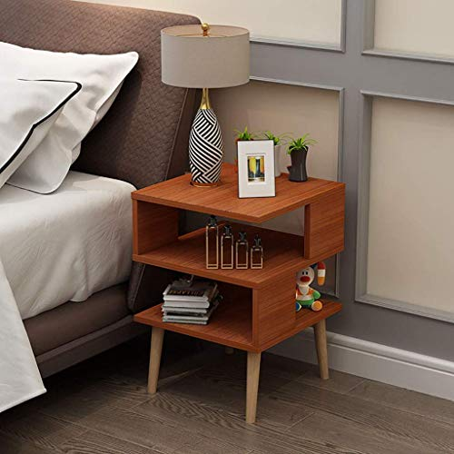 DGHJK Bedside Table Solid Wood Legs Multifunction Bedroom Storage Side Table, Creative, unique Square 3-Tier Shelf, Side End Table With Storage Rack (Color : Brown)
