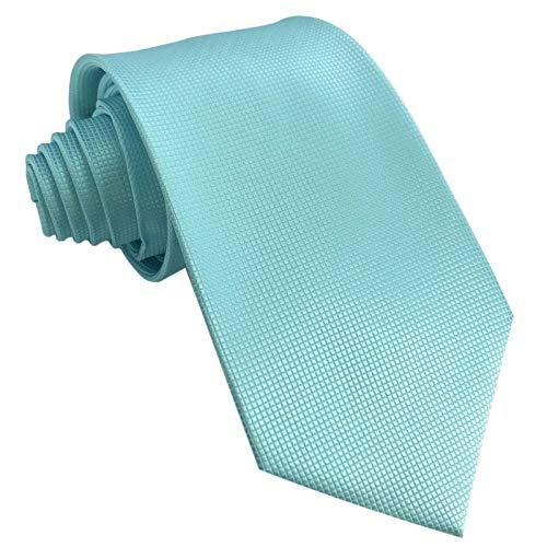 GASSANI Krawatte 10cm Breite Türkis-Blau Karo Kariert   Blaue Herrenkrawatte zum Sakko Anzug Seide-Optik   Schlips Binder einfarbig