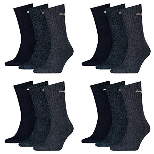 12 Paar Puma Sportsocken Tennis Socken Gr. 35 - 49 Unisex für sie und ihn, Farbe:321 - navy, Socken & Strümpfe:39-42