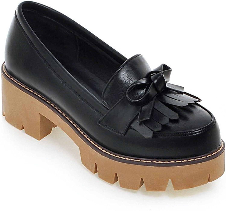 Lucksender Womens Chunky Heel Platform Loafers shoes Tassel