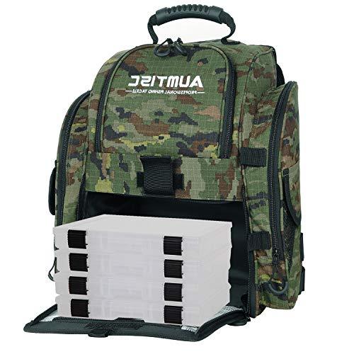 AUMTISC Angelrucksack Mehrzweck-Tackle-Tasche mit Regenschutzhülle Enthält 4 Tackle-Boxen Angelkoffer Fishing Rucksack (Tarnung)