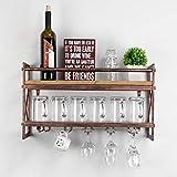 Weven Metal Wood Wine Rack Wall Mount,Industrial 2-Tier Stemware Glass Rack,Dining Wine Racks with 5...