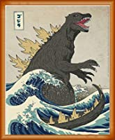 ポスター マイケル バクストン The Great Monster off Kanagawa 額装品 ウッドベーシックフレーム(オレンジ)