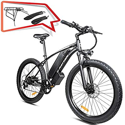 "R RATTAN Electric Snow Bike 27.5"" 3.0"" Fat Tire 500W EBike Shimano 7-Speed 48V 13AH Lithium Ion Battery EBike I-PAS System LCD Diaplay Moped Snow Beach Mountain Trail Riding Ebike"