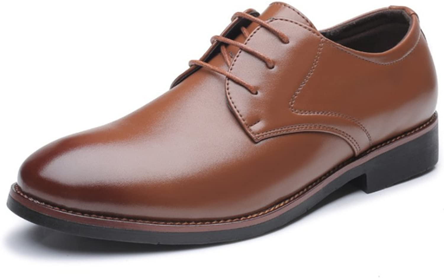 LYZGF Men Gentleman Business Casual Fashion 47 Extra Large Round Head Lace up Leather shoes