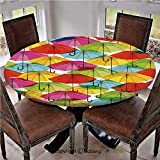 """Elastic Edged Polyester Fitted Table Cover,Colorful Umbrella Figures in Vibrant Tones Abstract Rain Themed Artistic Display,Fits up 40""""-44"""" Diameter Tables,The Ultimate Protection for Your Table,Multi"""