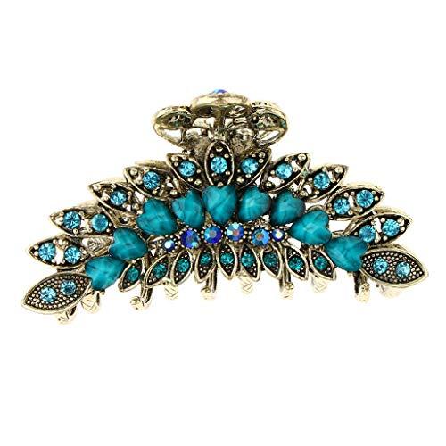 Inzopo Pince à cheveux vintage chic en alliage de métal et strass - Grande taille - Pour femme - Accessoire pour cheveux épais - Bleu - 9 x 4,5 cm