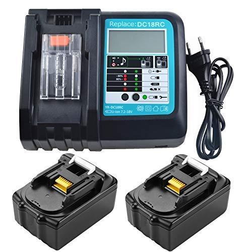 URUN 2 x BL1850 18V 5.0Ah Akku mit 3A Ladegerät DC18RC DC18RD DC18RA Kompatibel mit Makita Baustellenradio DMR100 DMR108 DMR106B DMR102 DMR104 DMR110 DMR103B BMR104 18 Volt Funkbatterie