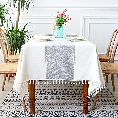 PhantasyIsland.com Mantel de Lino y algodón Resistente al Polvo con Borla para Cocina, Comedor, Granja, decoración de Mesa, 140 * 240cm