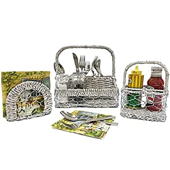 Woodard & Charles 3 Piece Indoor/Outdoor Entertaining Set Flatware Caddy Condiment Caddy Napkin Holder Perfect for BBQ Picnics and More
