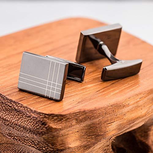 LIDAYE Hochwertige Manschettenknöpfe Krawattenklammer für Krawattennadel für Männer Spurstangen Manschettenknöpfe Krawattenklammer Set Gäste BlackGunPlated