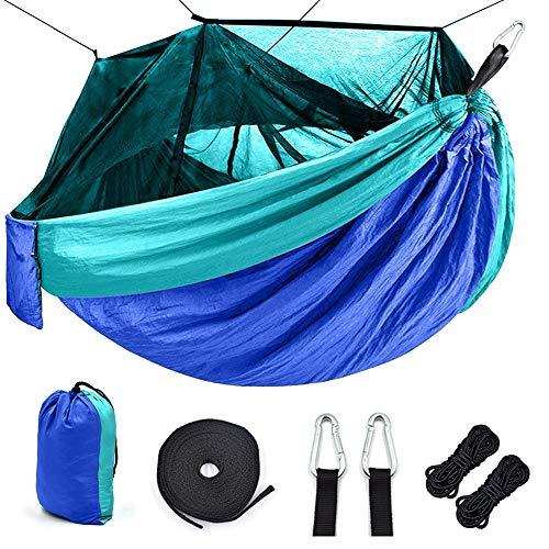 Camping hamac avec moustiquaire Portable Outdoor Tissu à haute résistance en parachute (Color : Blue-Sky Blue)