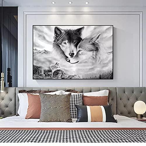Canvastryck Vargar målar djur på dukar och skriver ut foton för att hänga hemma Vardagsrum Sovrumsväggar och dekorera affischer och tryck Nordic Picture Mural Art Deco Retro födelsedagspresent