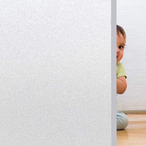 Rwest X Fensterfolie Selbsthaftend Blickdicht Sichtschutzfolie Fenster Milchglasfolie Statische Fensterfolien Anti-UV Folie Für Zuhause Badzimmer oder Büro