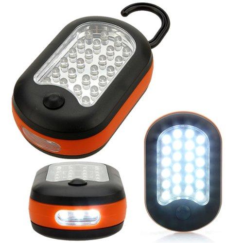 24 + 3 LED lampe de travail Crochet Lampe torche avec aimant et 2 modes d'éclairage extérieur Camping Orange Orange