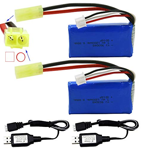Blomiky 2 Pack 7.4V 1200mAh 8.88Wh Li-PO Battery with Mini Tamiya Plug and 2 USB Charger Cable for 1/18 Scale 9300 9301 9302 9303 9034 RC Truck 9300 1200 2