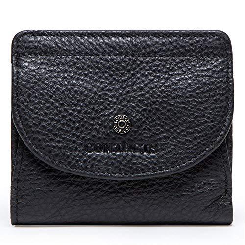 GHYDDC Portemonnee Voor Vrouwen Klein Compact, Bifold Echt Lederen Pocket Portemonnee Dames Mini Portemonnee Zwart