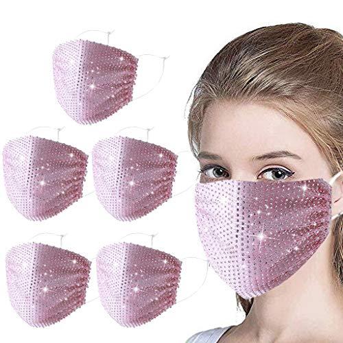 Supertong Unisex Einstellbar Mundschutz Mode Strass Mundbedeckung Waschbar Wiederverwendbar Gesichtsschutz Outdoor Staubdicht Winddicht Radfahren Motorrad Face Shield (Rosa-5PC)
