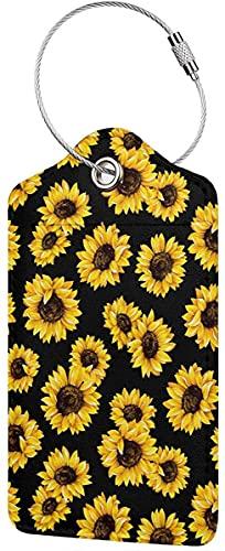 Etiquetas de equipaje de cuero de la PU con la cubierta de privacidad completa del lazo de acero inoxidable para la bolsa de viaje maleta-girasol Floral-1 PCS