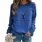 sutucom Women Yellowstone Printed Sweatshirts Long Sleeve Sweatshirt Fashion Round Neck Pullover Loose Tunic Tops Color Blue Size L
