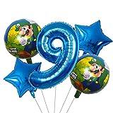 ENXI Globos 5 UNIDS Super Mario Globos 30 Pulgadas Número de niño Chica Fiesta Decoraciones Cumpleaños Mario Luigi Bros Mylar Globos Decoración ( Color : Yellow )