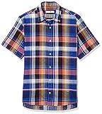 [ゴールデンベア] カジュアルシャツ マドラスチェック柄半袖シャツ メンズ ダルブルー 日本 M (日本サイズM相当)